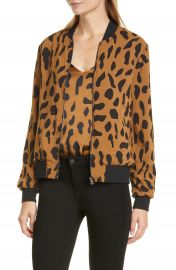 L  x27 AGENCE Ollie Cheetah Print Silk Bomber Jacket   Nordstrom at Nordstrom