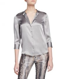 L  x27 Agence Aoki Band-Collar Blouse at Neiman Marcus