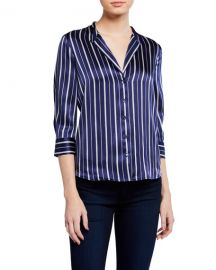 L  x27 Agence Aoki Stripe Band-Collar Blouse at Neiman Marcus