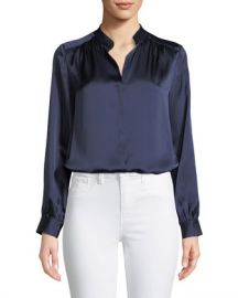 L  x27 Agence Bianca Silk Charmeuse Button-Down Blouse at Neiman Marcus