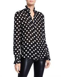L  x27 Agence Carla Polka Dot High-Neck Victorian Blouse at Neiman Marcus