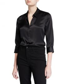 L  x27 Agence Dani Silk Satin 3 4-Sleeve Button-Down Blouse at Neiman Marcus
