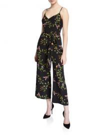 L  x27 Agence Jaelyn V-Neck Cami-Top Straight-Leg Floral-Print Silk Jumpsuit at Neiman Marcus