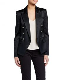 L  x27 Agence Kenzie Double-Breasted Satin Blazer at Neiman Marcus