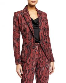 L  x27 Agence Kenzie Python-Print Double Breasted Blazer at Neiman Marcus