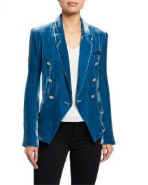 L  x27 Agence Kenzie Velvet Double-Breasted Blazer at Neiman Marcus
