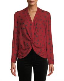 L  x27 Agence Mariposa Star-Print Silk Crossover Blouse at Neiman Marcus