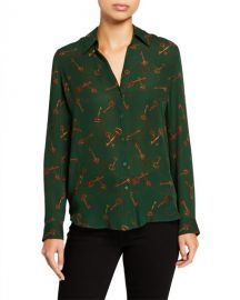 L  x27 Agence Nina Long-Sleeve Key-Print Blouse at Neiman Marcus