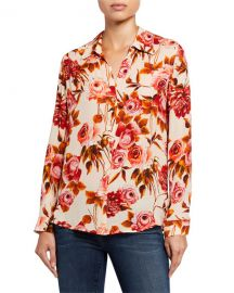 L  x27 Agence Nina Long-Sleeve Rose-Print Blouse at Neiman Marcus