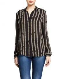 L  x27 Agence Nina Printed Button-Down Silk Blouse at Neiman Marcus