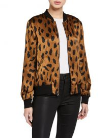 L  x27 Agence Ollie Printed Silk Bomber Jacket at Neiman Marcus