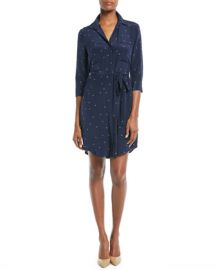 L  x27 Agence Stella Long-Sleeve Star-Print Silk Shirtdress at Neiman Marcus