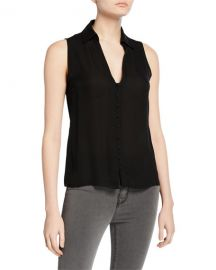 L  x27 Agence Tanya Collared Button-Front Blouse at Neiman Marcus