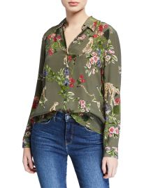 L\'Agence Nina Long-Sleeve Cheetah & Floral Silk Blouse at Bergdorf Goodman
