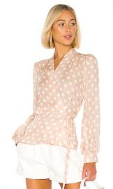 L AGENCE Cara Wrap Blouse in Petal  amp  Ivory from Revolve com at Revolve