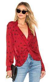 L AGENCE Mariposa Blouse in Lacquer Red  amp  Black from Revolve com at Revolve