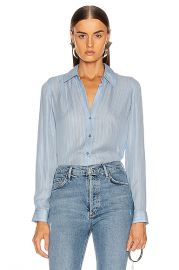 L AGENCE Nina Blouse in Sky Blue Multi Stripe   FWRD at Forward