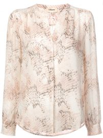L AGENCE SNAKE PRINT COLLARLESS BLOUSE - PINK at Farfetch