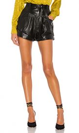 L Academie Savon Leather Shorts in Black from Revolve com at Revolve