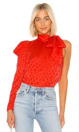 L Academie The Anais Blouse in Cherry Tomato from Revolve com at Revolve