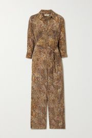 L Agence - Belted printed silk crepe de chine jumpsuit at Net A Porter