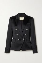 L Agence - Kenzie double-breasted satin blazer at Net A Porter