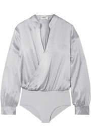 L Agence - Marcella wrap-effect silk-satin and stretch-jersey bodysuit at Net A Porter