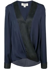 L agence two-tone Wrap Blouse - Farfetch at Farfetch