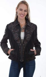 L1005 Vintage Embroidered Fringe Jacket by Scully at Amazon