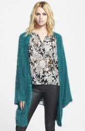 LA List Eyelash Open Front Cardigan at Nordstrom