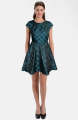 LABEL by five twelve Jacquard Taffeta Fit andamp Flare Dress at Nordstrom