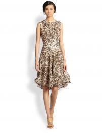 LAGENCE - Leopard-Print Pleated Keyhole Dress at Saks Fifth Avenue