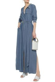 LAGENCE Belted chambray shirt maxi dress at The Outnet