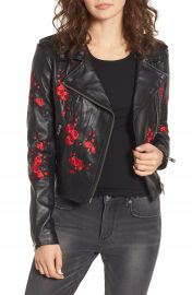 LAMARQUE Embroidered Leather Moto Jacket   Nordstrom at Nordstrom