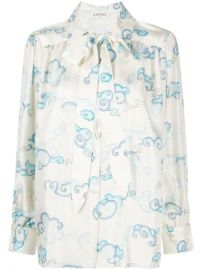 LANVIN pussy-bow Silk Blouse - Farfetch at Farfetch