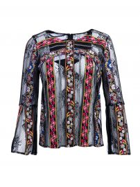 LARUE EMBROIDERED SLIT SLEEVE TOP ADD TO MY MOST WANTED at Alice + Olivia