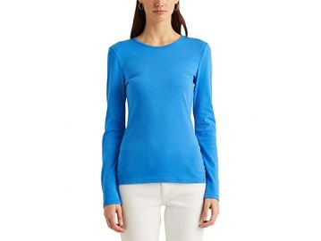 LAUREN Ralph Lauren Cotton-Blend Long Sleeve Top at Zappos