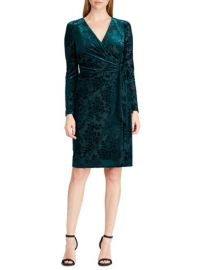 LAUREN Ralph Lauren Flocked Velvet Wrap Dress at Lord & Taylor