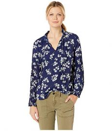 LAUREN Ralph Lauren Print Tie Neck Georgette Top at Zappos