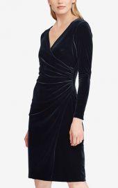 LAUREN Ralph Lauren Velvet Surplice Dress at Macys