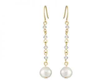 LAUREN by Ralph Lauren Pretty In Pearls French Wire Small Faceted Stones w Pearl Linear Earrings White PearlGold at Zappos
