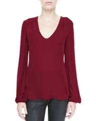 LAgence Ruch-Shoulder Silk Blouse at Neiman Marcus