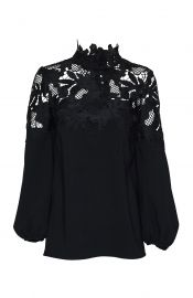 LEAF GUIPURE LACE YOKE BLOUSE at Lela Rose
