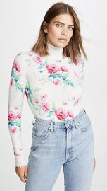 LES REVERIES Floral Print Distressed Cashmere Turtleneck at Shopbop