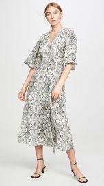 LES REVERIES Flutter Sleeve Long Wrap Dress at Shopbop