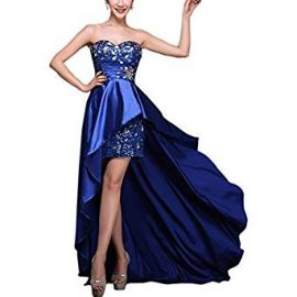LETSQK Women s Sexy Hi-Lo Sweetheart Beaded Sequins Evening Prom Dress Gown at Amazon
