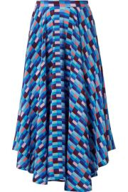 LHD - French Riviera asymmetric printed silk crepe de chine skirt at Net A Porter