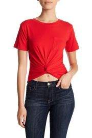 LIME BLUE   Knot Front Chest Pocket Tee at Nordstrom Rack