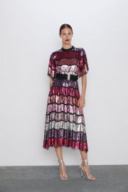 LIMTED EDITION BELTED SEQUIN DRESS at Zara
