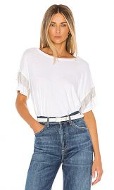 LNA Shimmy Chain Fringe Tee in White from Revolve com at Revolve